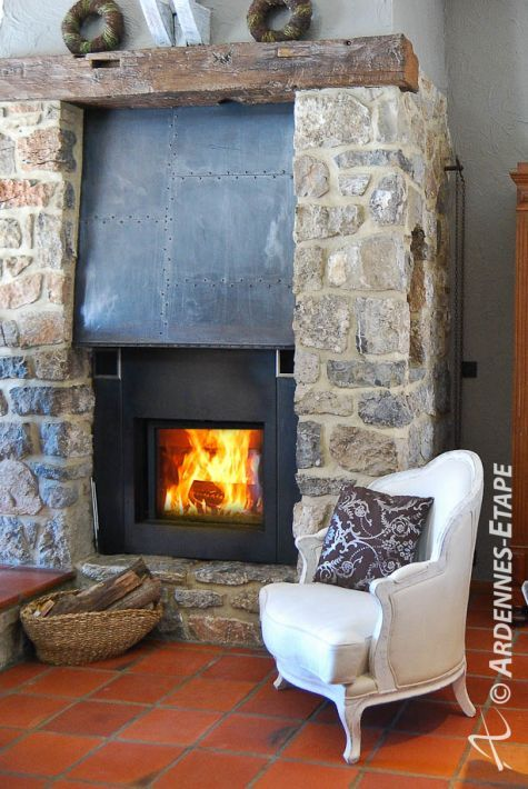 Fireplace in luxury villa with swimming-pool in Houyet in the Ardennes (Belgium) – 105813-01