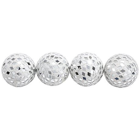 Mirror Mosaic White Glass Decorative Balls Set Of 4 Mirror Mosaic Colored Mirror