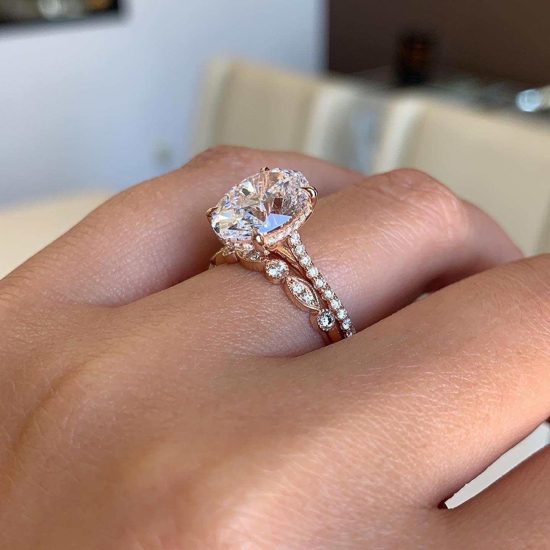 Halo aquamarine engagement ring 14k white gold ring unique