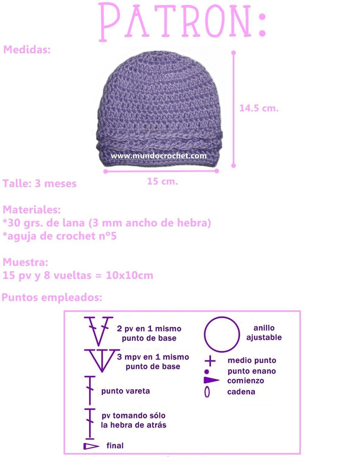 Patron gorro simple para bebe a crochet o ganchillo | Ganchillo ...
