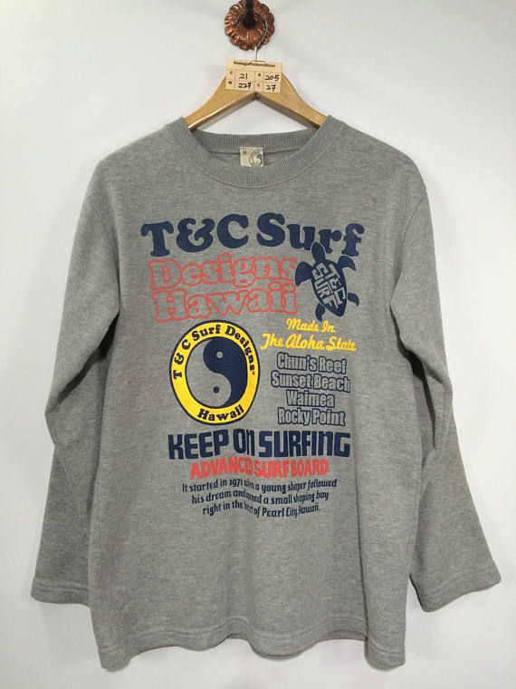 Vintage 1990 T C SURF Sportswear Sweatshirt Unisex Medium Town and Country  Design Hawaii Crewneck Sw 808079b010d