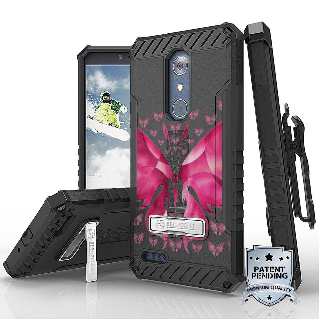 Tri Shield For ZTE Z Max Pro / ZTE Carry Z981 Hot Pink Butterfly, Belt Clip Holster