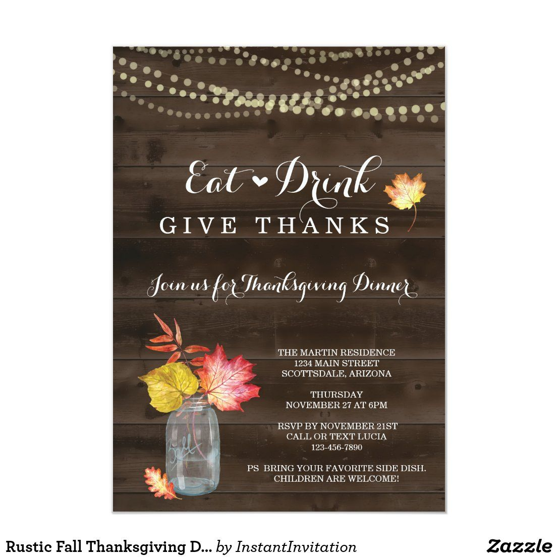Rustic Fall Thanksgiving Dinner Party Invitation #thanksgiving #givethanks #thanksgivingdinner #thanksgivingparty #styledevents #afflink #zazzle #zazzlemade #styledparties #celebrateandparty #celebrationparty #party #partyinspiration #partystyling #partydecoration #partyideas #partyinspo #partytheme #partyprops #eventinspo #eventplanning #eventideas #partythemethursday #partythemeideas #partyinabox