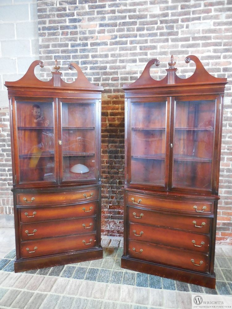 Antique Vintage Pair Mahogany Corner China Cabinets Chippendale
