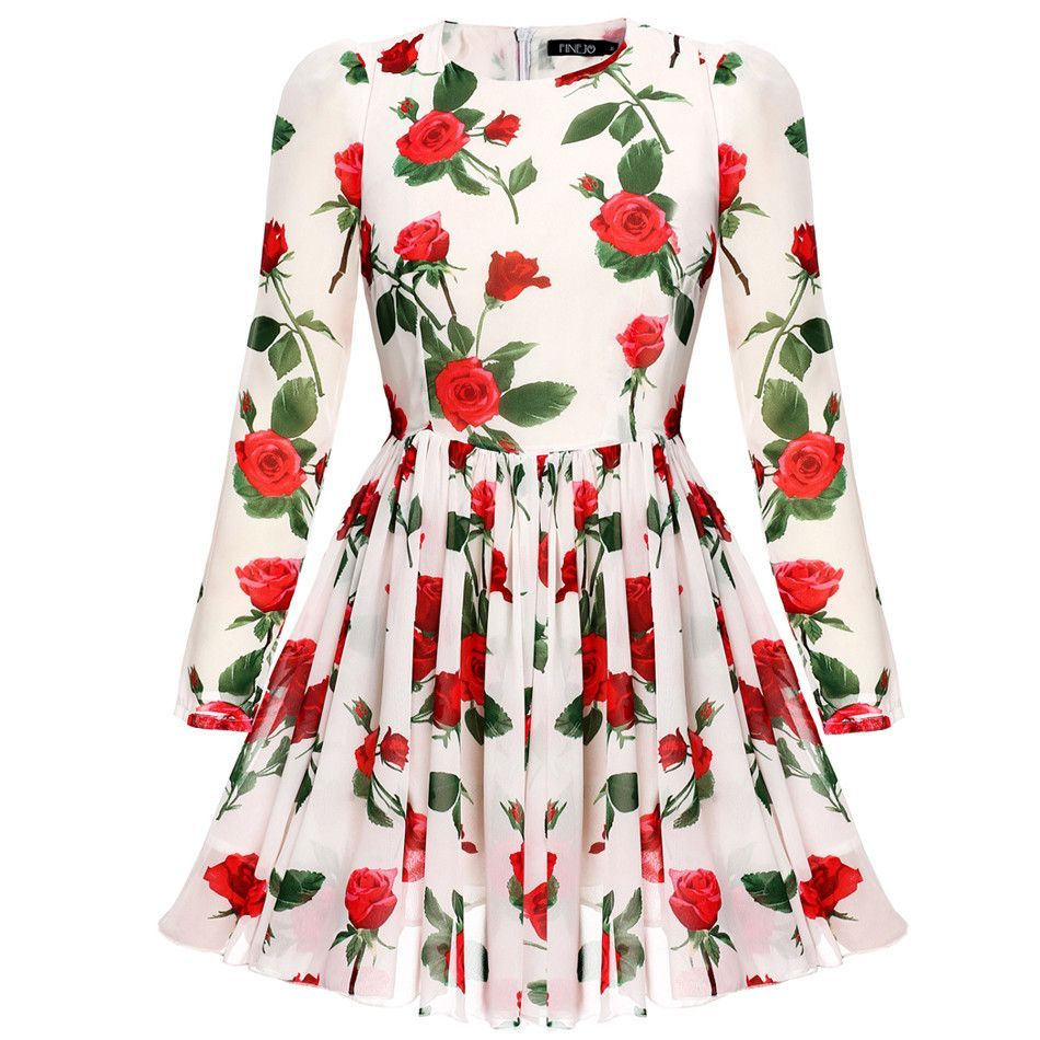 Finejo Sweet Slim Chiffon Dresses Women Summer Dress Rose Floral Long Sleeve mini vestido plus size women clothing S-XXL
