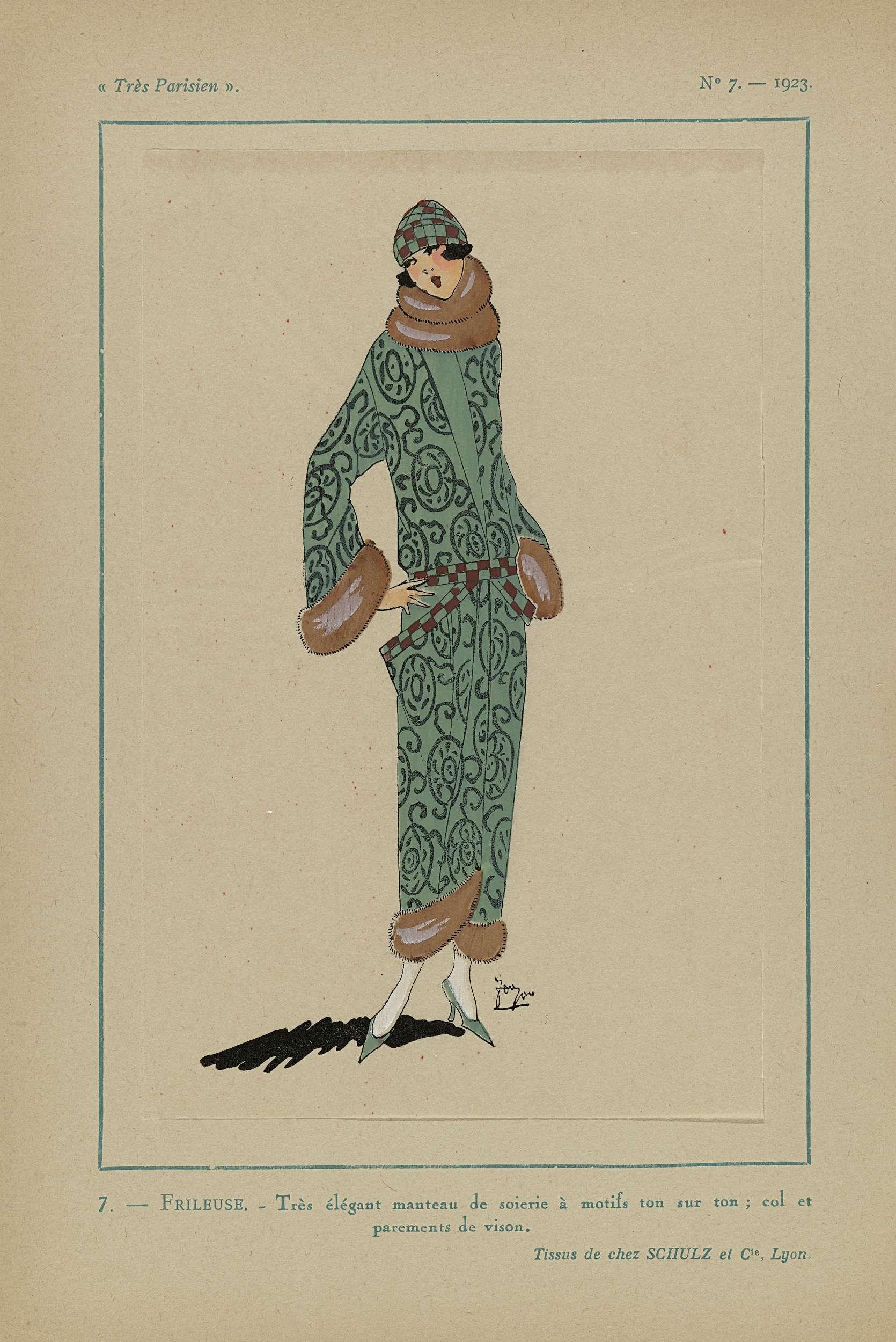 Anonymous   Très Parisien, 1923, No 7: 7. - FRILEUSE. - Très élégant manteau..., Anonymous, Schulz et Cie, G-P. Joumard, 1923   Mantel van zijde met motieven in dezelfde tinten; kraag en manchetten van nerts (bont).  Stoffen van Schulz et Cie. Prent uit het modetijdschrift Très Parisien (1920-1936).