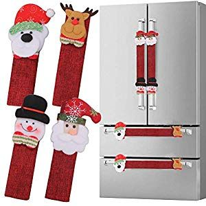 Refrigerator Door Handle Covers Set of 8 Christmas Decorations Handle Cover Santa Snowman Kitchen Appliance Covers Fridge Microwave Oven Dishwasher Door Handle Covers Pro...