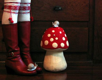 Mushroom plush..actually love the red boots too!...without the snail ...