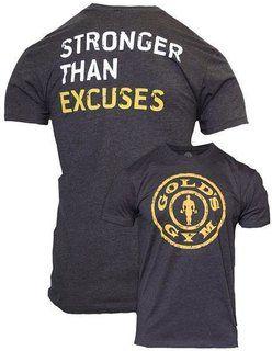 b0647c0963dd Golds Gym T-shirt Stronger Than Excuses Grau