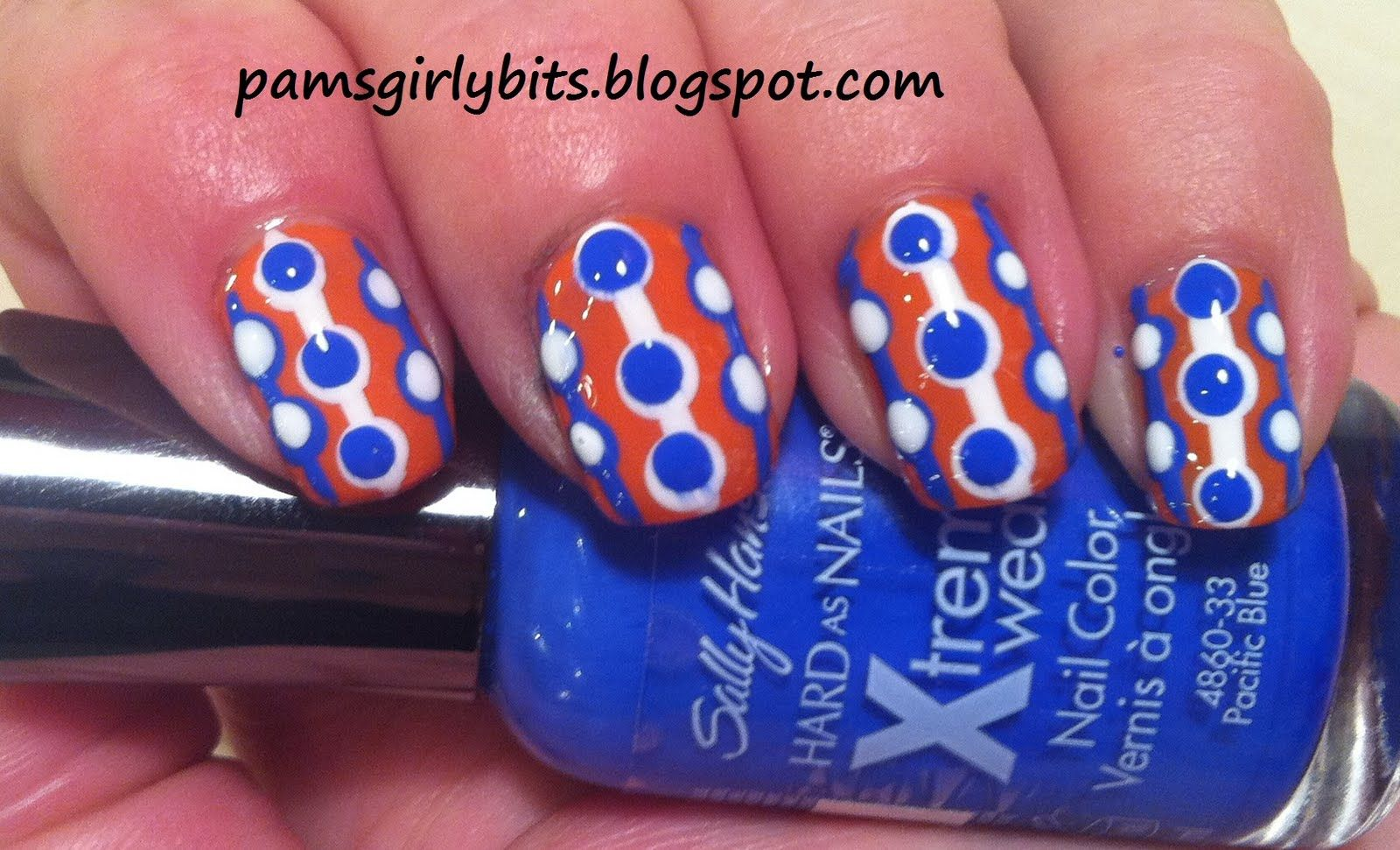 Bright blue and white dots on red - retro nail art design | Manis 2 ...