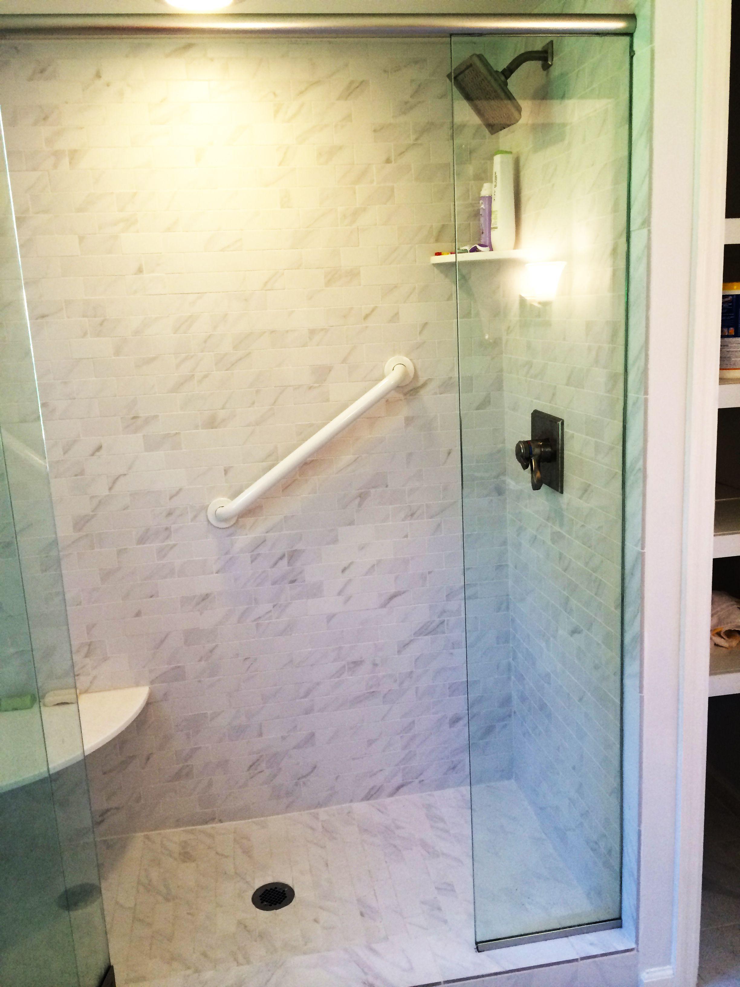 Walk In Shower With Gl Door Daltile Carrara Ceramic Wall And Floor Tile