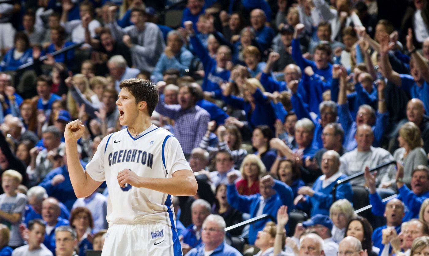 Creighton's Doug McDermott celebrates a basket in the