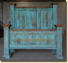 Turquoise Wash Rustic Bed Rustic Bedroom Furniture Furniture Renovation Rustic Bedding