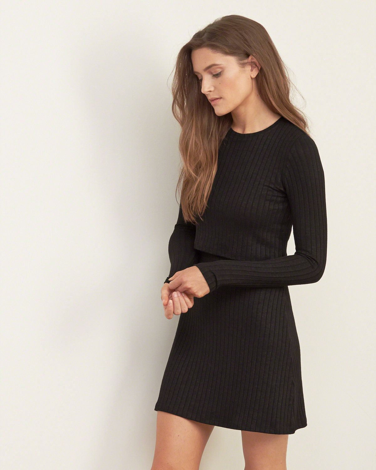 Womens Ribbed Overlay Sweater Dress | A textured dress with a hint of warmth, all-over ribbed texture and overlay detailing, finished with a slim and easy silhouette | Abercrombie.com