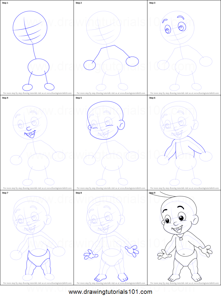 How to Draw Raju from Chhota Bheem printable step by step drawing ...