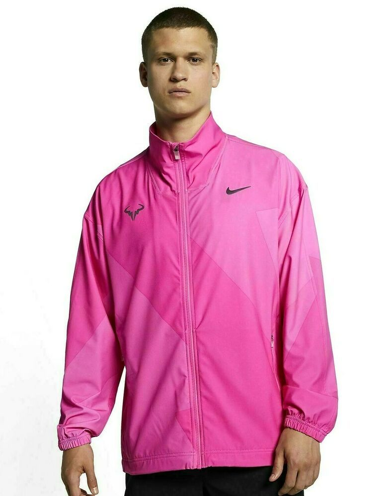 Nike Tennis Rafa Nadal Jacket Mens L Laser Fuchsia Thunder Grey Aj8257 686 Nike Trackjacket Muzhskaya Kurtka