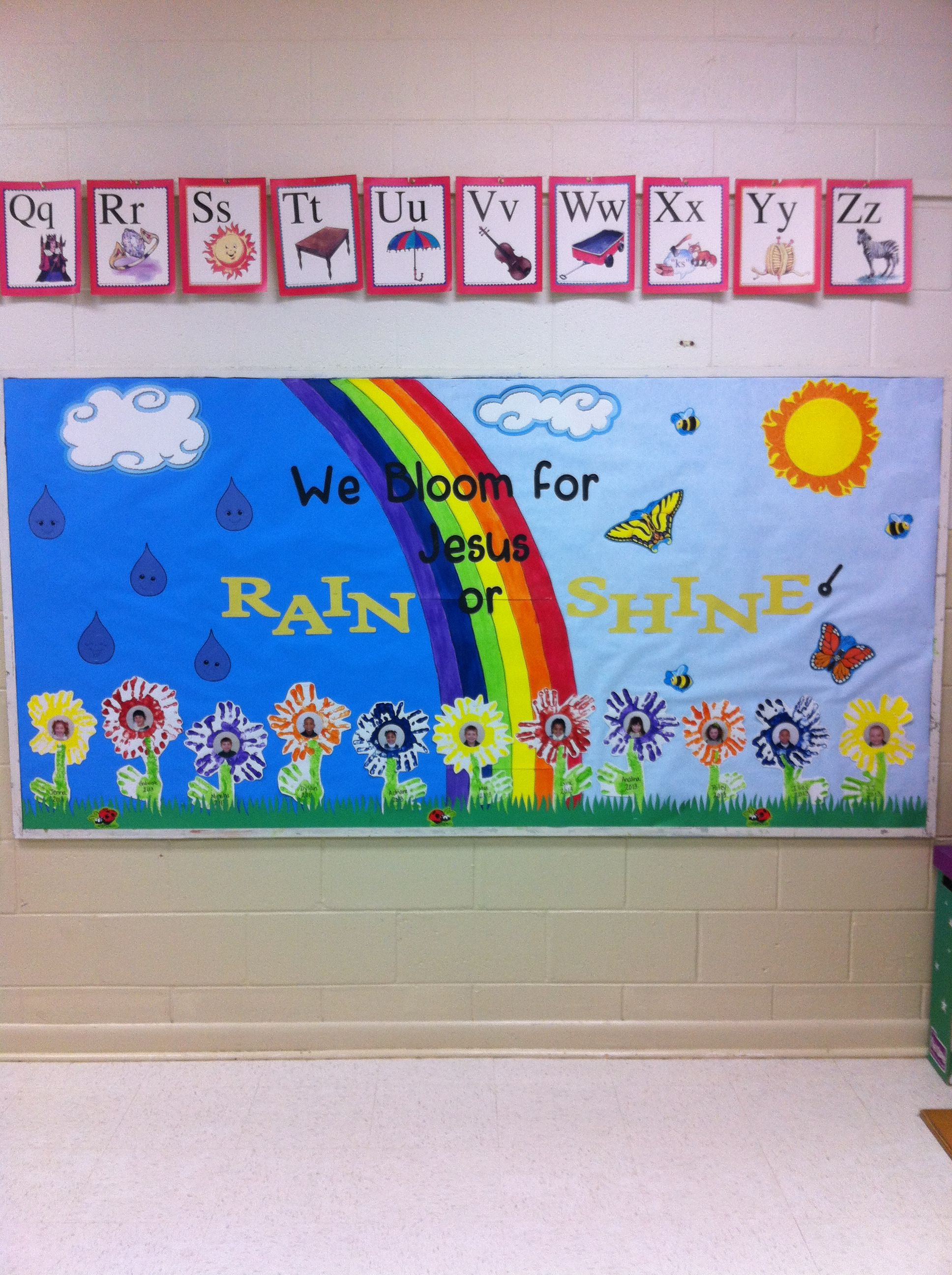 April Showers Bring May Flowers Bulletin Board Spring Boards Preschool Easter