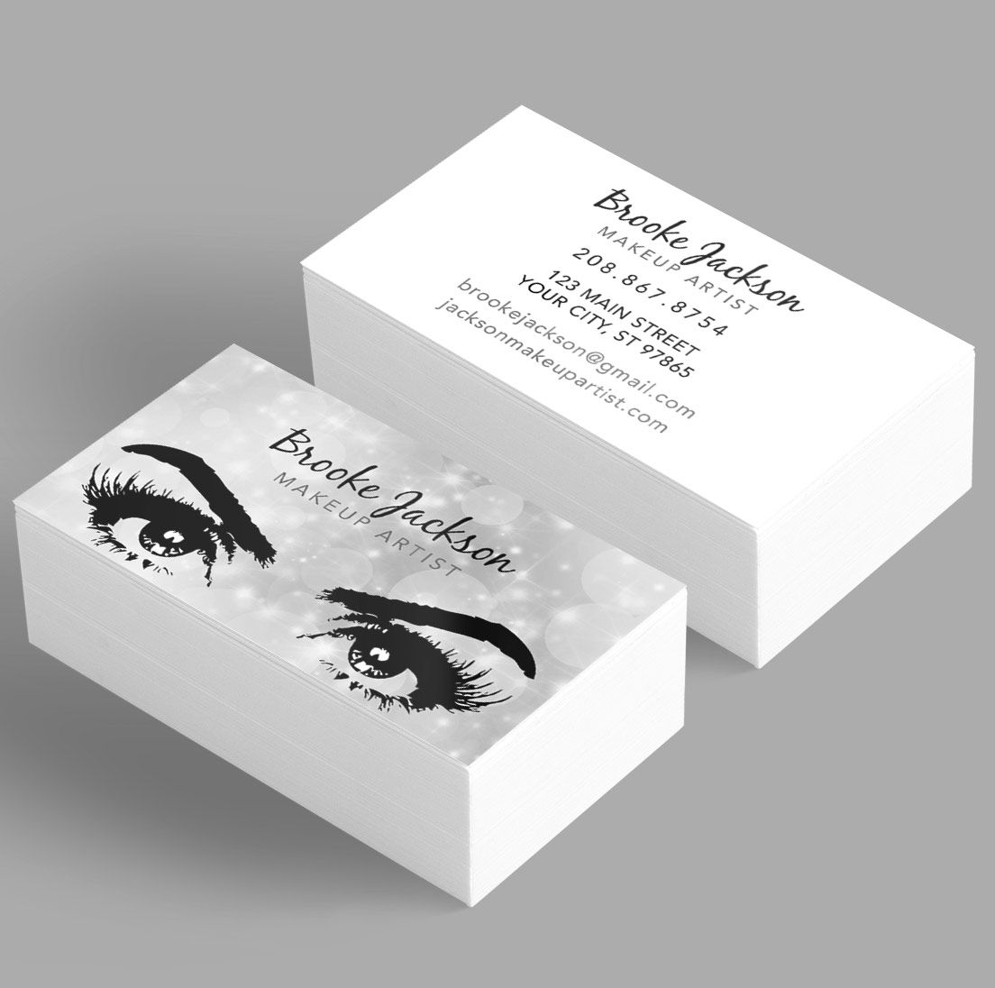 Makeup Artist Business Card - eyes / eyelashes - silver | Makeup ...