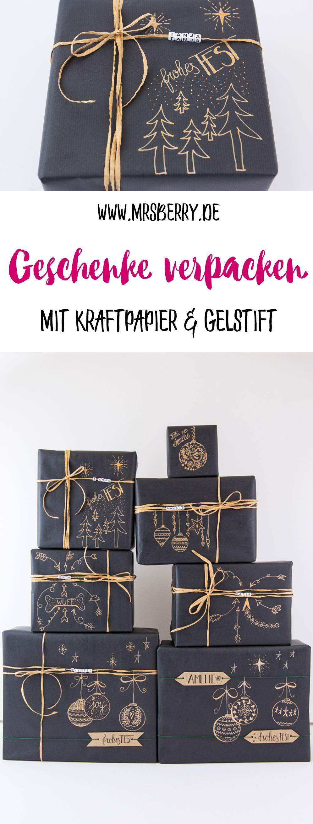 Geschenke schön verpacken mit Kraftpapier #father