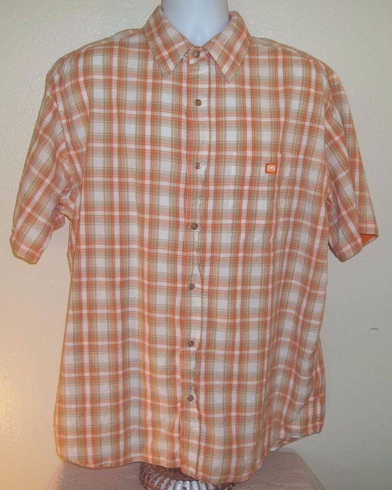 Ecko Unltd shirt button front XL Orange Brown The Dwyer EUC Short sleeve cotton  #EckoUnltd #ButtonFront
