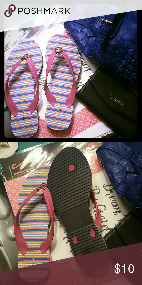70bb7af0aee Tommy Hilfiger Flip Flops Never worn flip flops. Multi Colored stripes with  pink straps. Size 7 8 Tommy Hilfiger Shoes Sandals