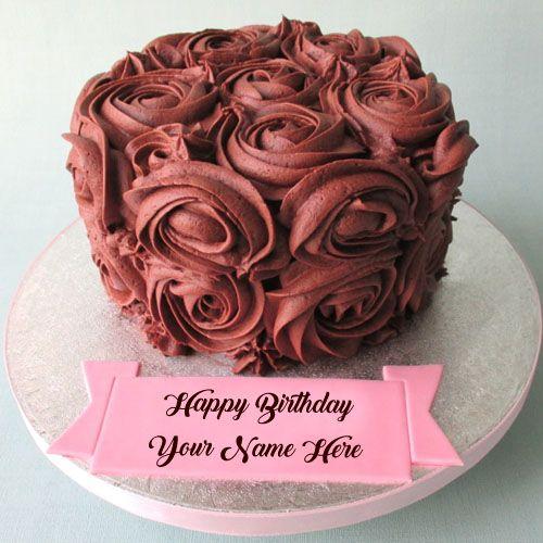 Write Name Beautiful Chocolate Birthday Cake Wishes Profile Set