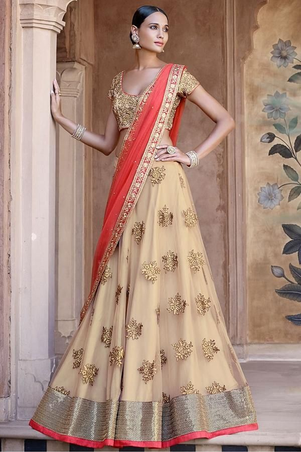 7e7beaacad Lehenga choli price, Ghagra choli, Chaniya cholis in USA, Canada & UK ✿✿✿.  Net Party Wear Lehenga Choli in Cream and Red ...