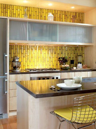 Golden Mustard Tile Backsplash Love Modern Kitchen Tiles