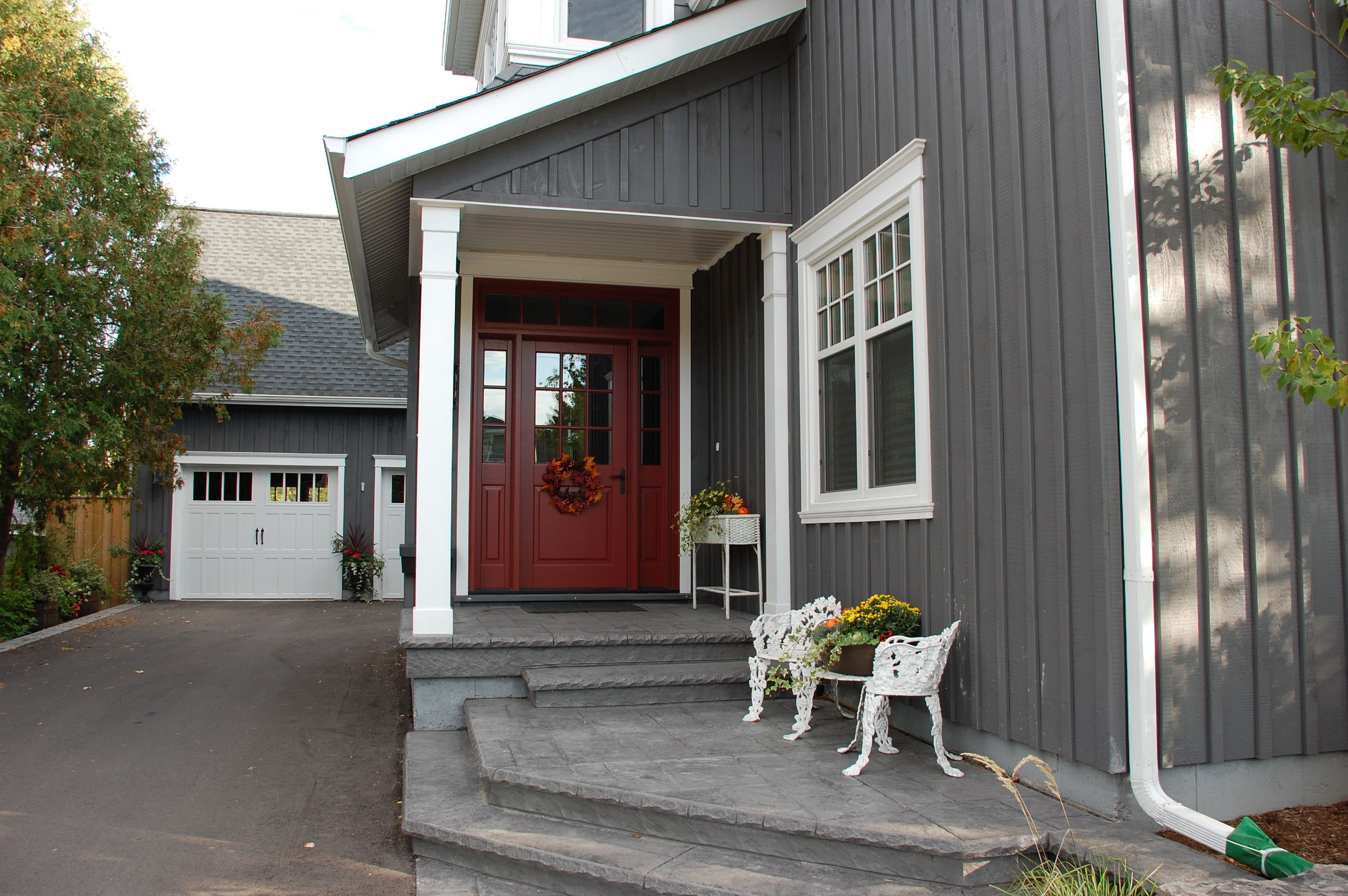 House exterior all white or gray on pinterest white for White house with grey trim