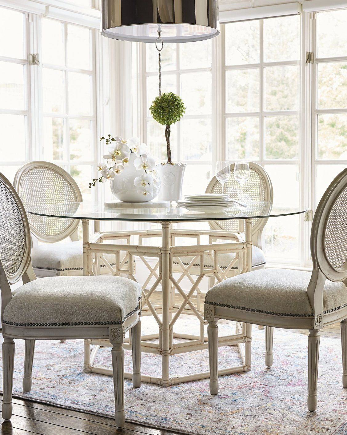 Ludlow Round Back Side Chair Frontgate Unique Dining Room Dining Chairs Cottage Dining Rooms #round #glass #tables #for #living #room