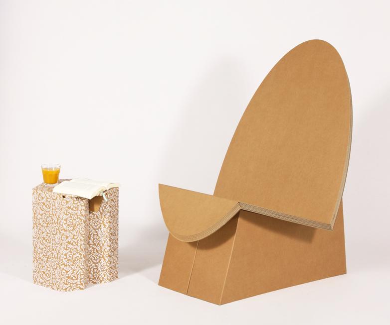 sessel egg pappkunst m bel aus pappe m bel und pappe. Black Bedroom Furniture Sets. Home Design Ideas