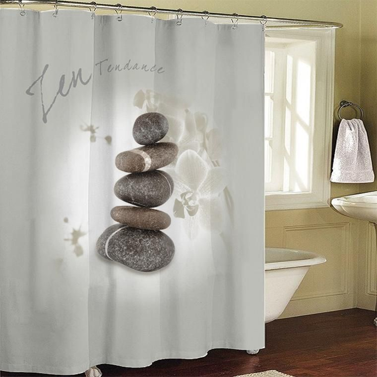 Good New Zen Stones Bathroom Fabric Shower Curtain 180x200cm Bath Curtain Bath  Screen Waterproof W/ Shower