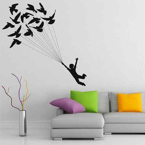 Birds Doves Child Flying Wall Art Sticker Decal Mural Stencil