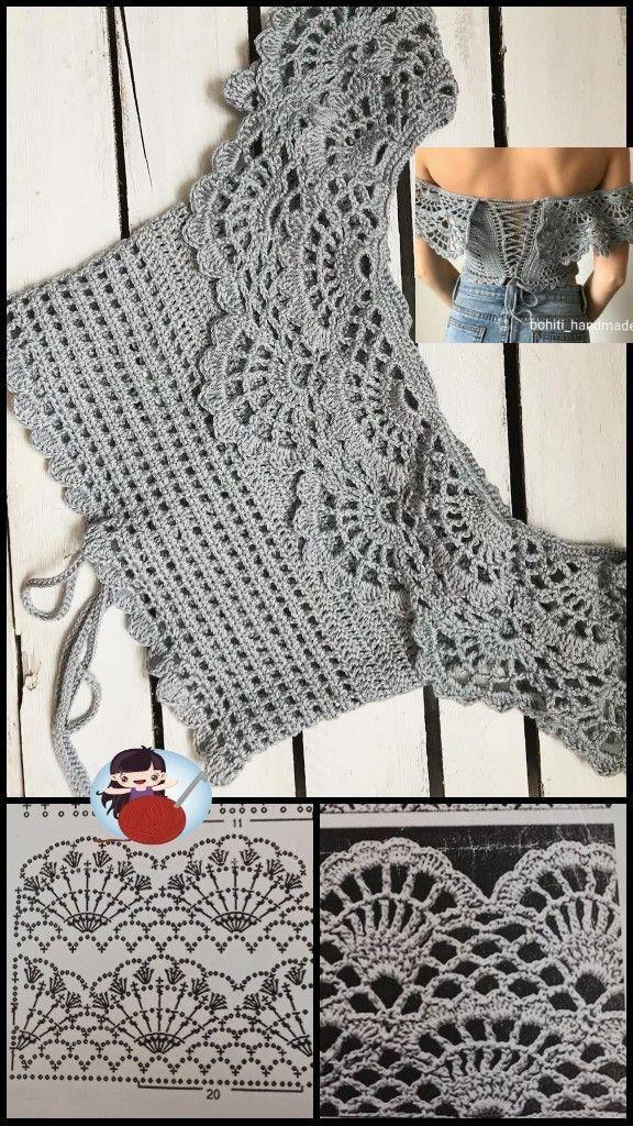 Blusa ciganinha perfeita Crochet shawl Geek Minecraft Patrones Crochet shirt Perler beads Crochet
