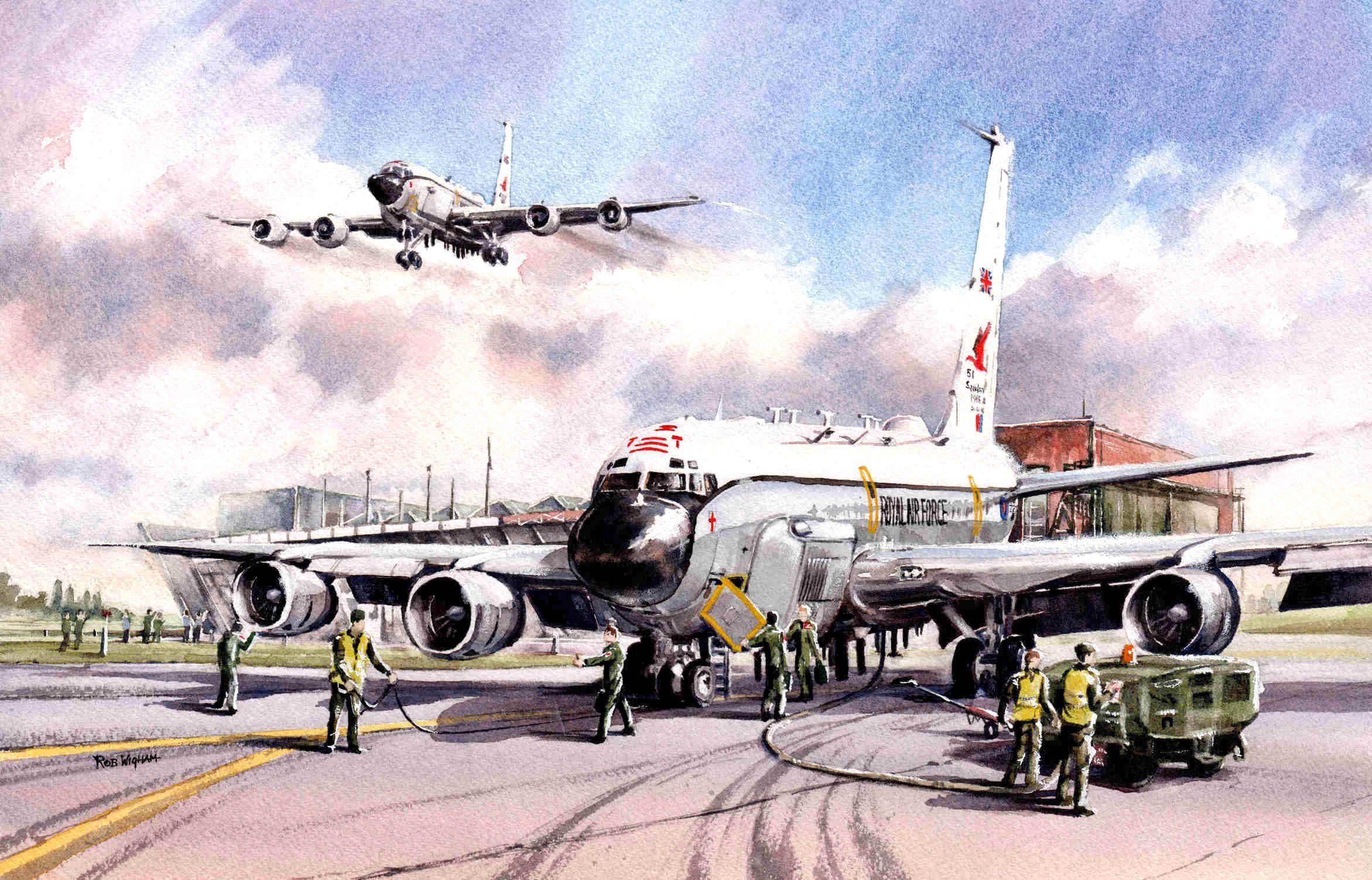 51 Squadron Centenary 2016 Watercolour 52 X 34 Cm Aviation