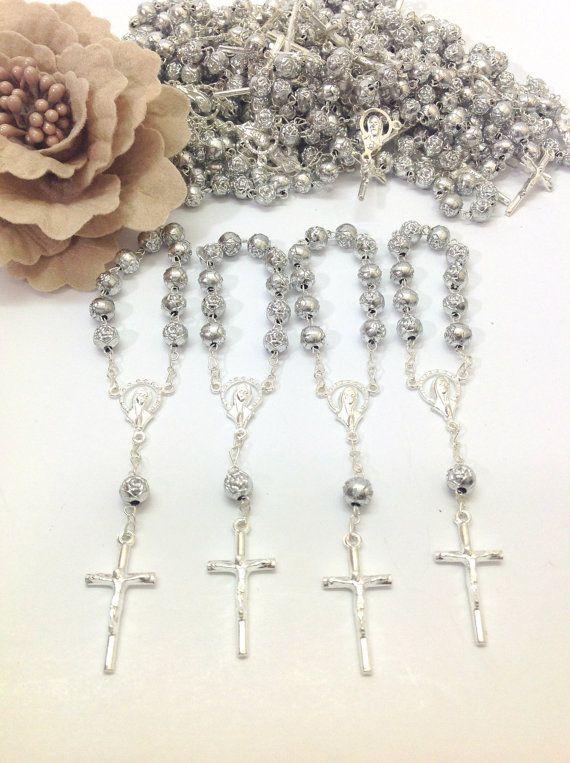 Bomboniere Ten Rosary Wrist Cross Pearls Heart communion confirmation baptism