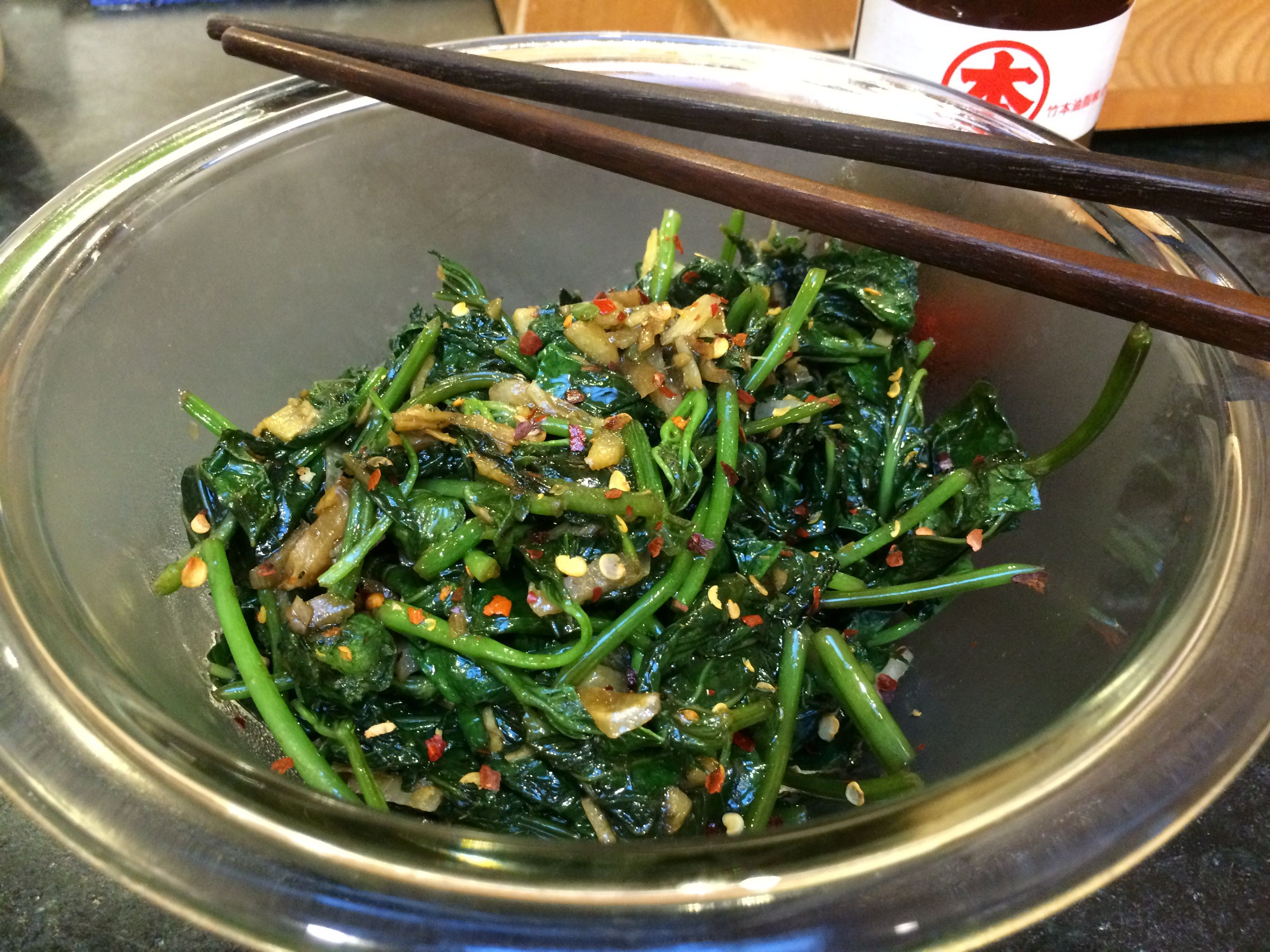 """Sweet potato greens stir-fry. Sub in vegan """"fish sauce"""" to make this vegan :)"""