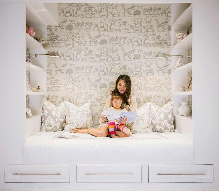 Kids Bedroom Nook kids reading nook with shelves, transitional, girl's room | kids