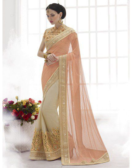 64fd393adc23eb Peach and Cream Shimmer Georgette Saree with Stone Work