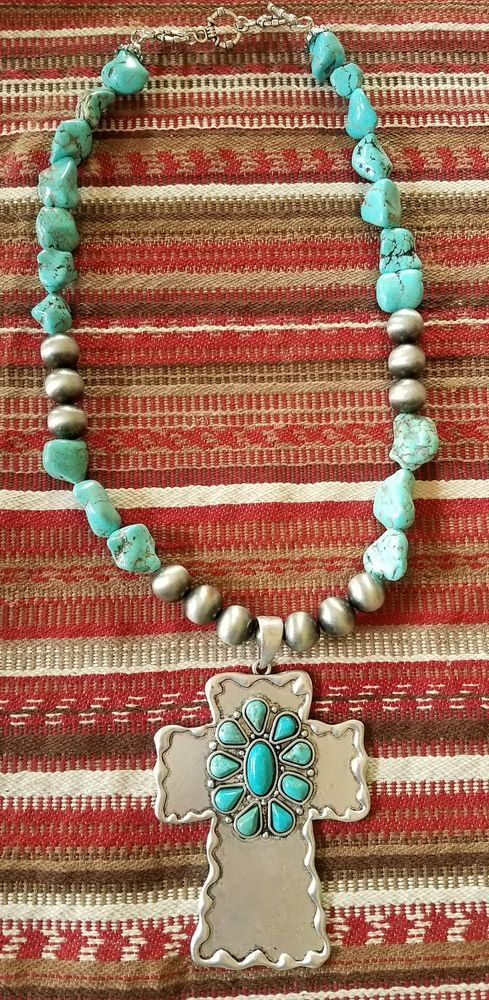 Cowgirl bling turquoise cross pendant navajo pearls necklace gypsy cowgirl bling turquoise cross pendant navajo pearls necklace gypsy jewelry watches fashion jewelry aloadofball Gallery