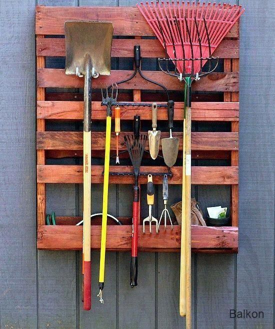 Balkon 8 DIY Pallet Tool Organizer Projekte für den Garten