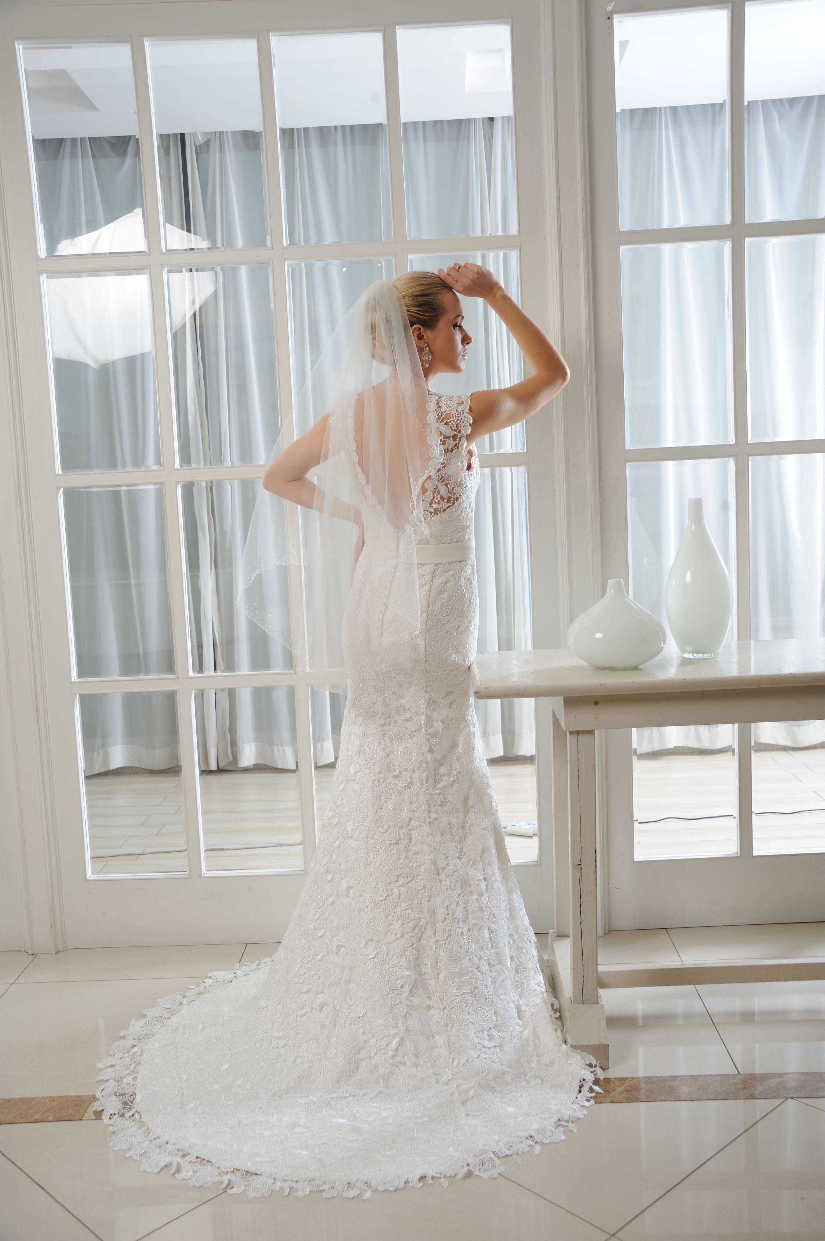 Madison Brides by Harvee lace fishtail wedding dress