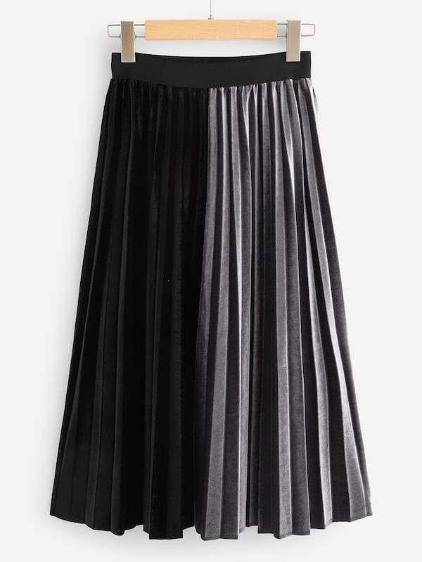 Plus Velvet Two Tone Pleated Skirt