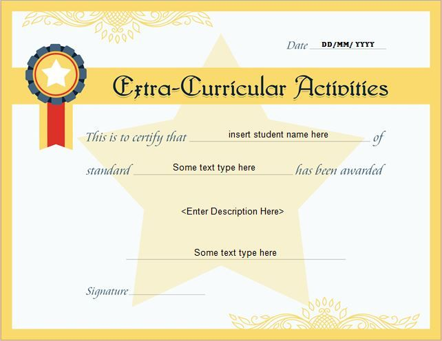 Extracurricular activities award certificate certificates - microsoft award templates