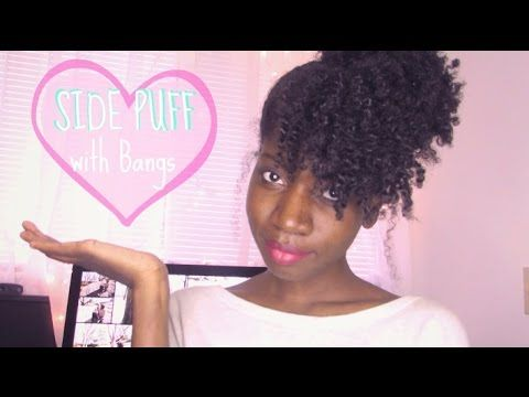 Cute Side Puff With Bangs For Natural Hair You