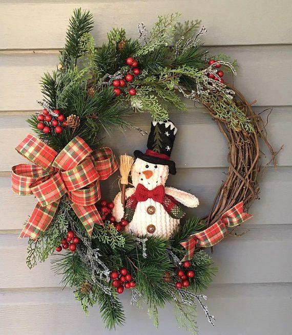 Christmas Wreath For Front Door Xmas Wreath Grapevine Wreath Rustic Wreath Country Wreath S Christmas Door Decorations Winter Wreath Christmas Wreaths Diy