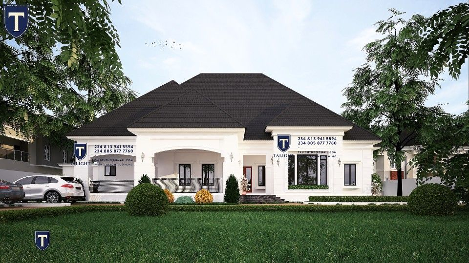 Architectural Design Of Five Bedroom Bungalow Plan In Nigeria Modern Bungalow House Bungalow Floor Plans Village House Design