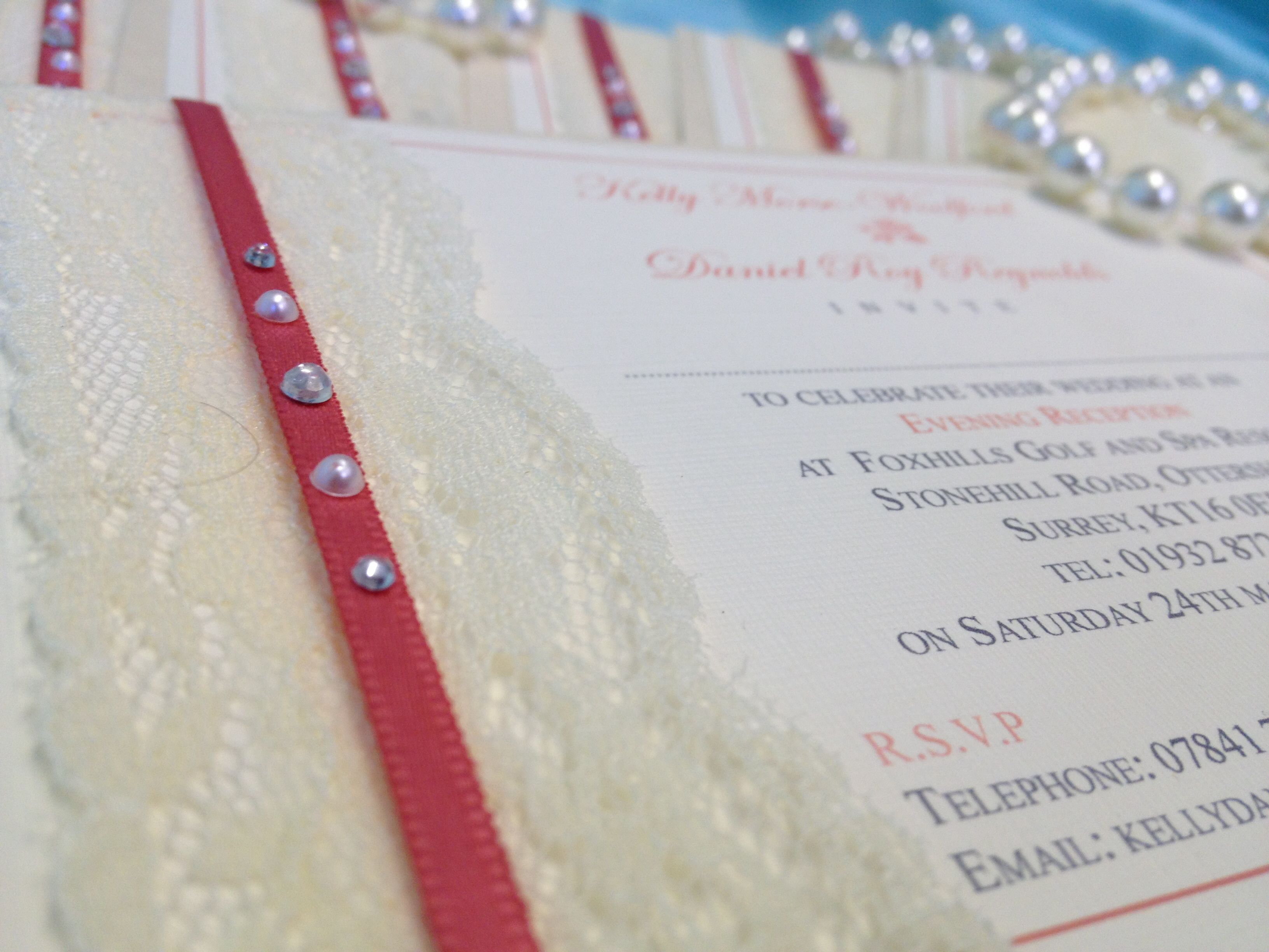 Luxury coral vintage evening wedding invitation handmade by Perfect ...