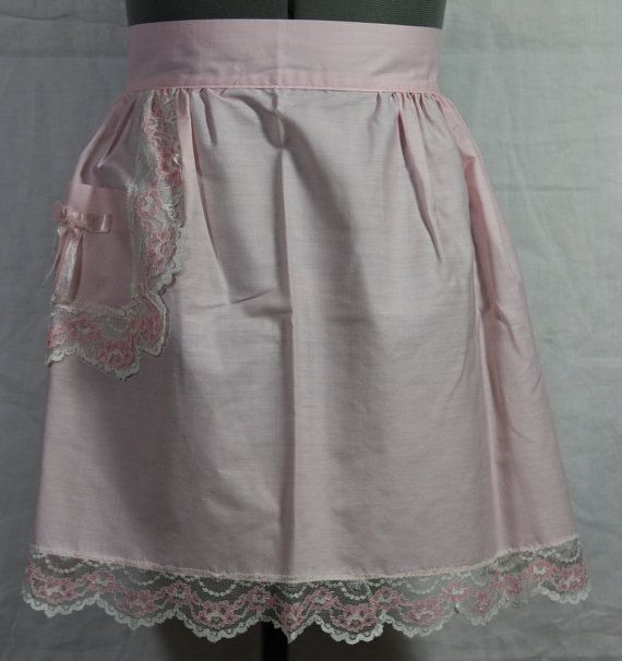 Vintage Hostess Half Arpon Pink Cotton with by ilovevintagestuff
