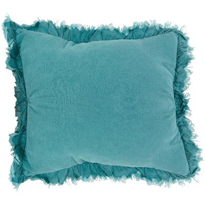 Saro Ruffled Linen Throw Pillow Color: Sea Green